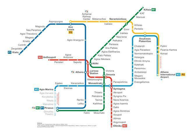 希腊雅典地铁分布图